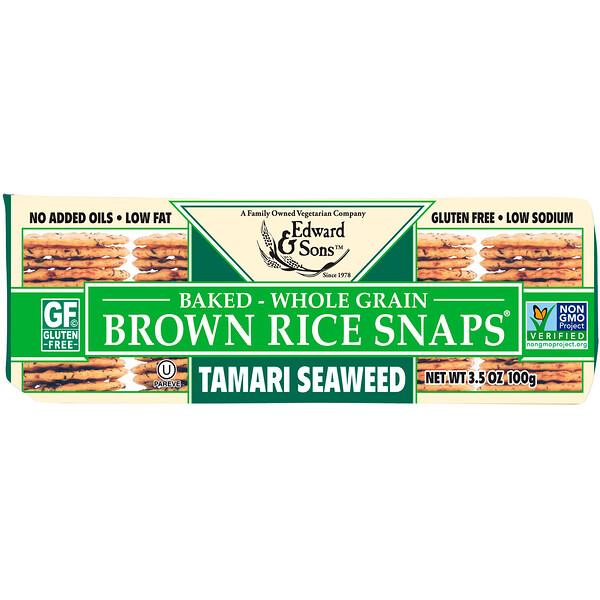 Цельнозерновые хрустящие хлебцы из бурого риса, с морскими водорослями тамари, 100 г (3,5 унции)