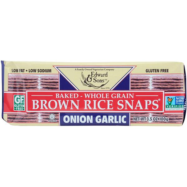 Запеченные цельнозерновые чипсы из бурого риса, Лук и чеснок, 3,5 унц. (100 г)