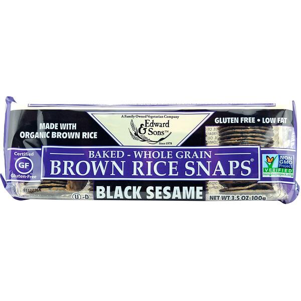 Edward & Sons, Цельнозерновое печенье из коричневого риса, черный кунжут, 100г (3,5унции)