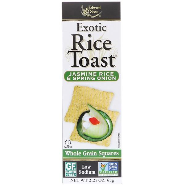 Edward & Sons, Тост с экзотическим рисом, квадратики из цельного зерна, рис жасмин и зеленый лук, 65 г (Discontinued Item)
