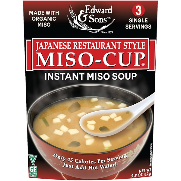 Edward & Sons, Miso-Cup, Japanese Restaurant Style, 3 Individual Servings