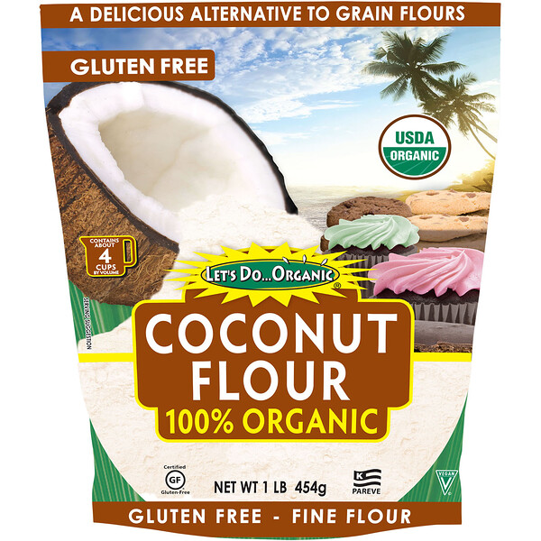 Let's Do Organic, 100 % органическая кокосовая мука, 454 г (1 фунт)