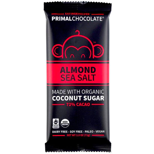 Evolved Chocolate, PrimalChocolate, Миндаль и морская соль 72% какао, 2,5 унции (71 г)