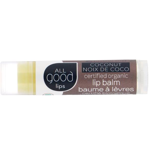 """All Good Products, """"Все хорошее"""" Lips, сертифицированный органический бальзам для губ, кокос, 4,25 г (Discontinued Item)"""