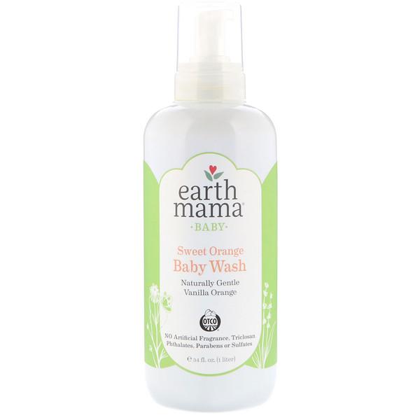 Earth Mama, Baby, Sweet Orange Baby Wash,  Vanilla Orange, 34 fl oz (1 l) (Discontinued Item)