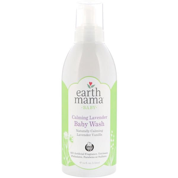 Earth Mama, Успокаивающий детский шампунь и средство для тела с лавандой, лаванда и ваниль, 1 л (34 жидких унции) (Discontinued Item)