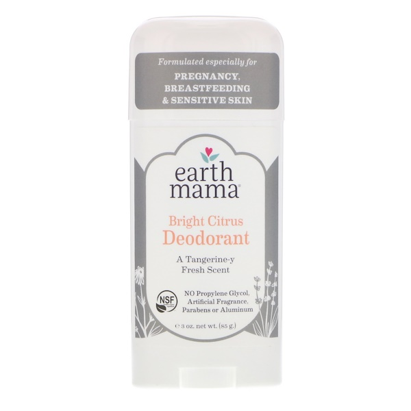 Earth Mama, Дезодорант, яркий цитрус, 3 унц. (85 г) (Discontinued Item)