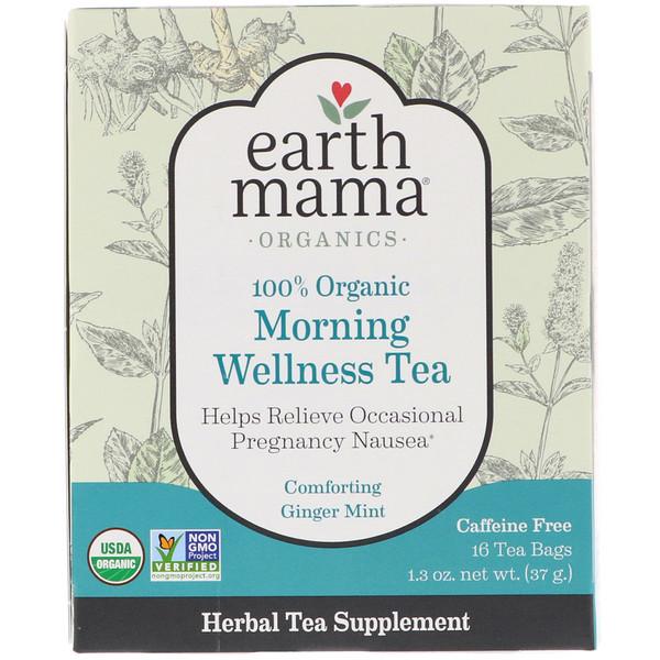 Earth Mama, 100% органический полезный утренний чай, имбирь и мята, 16 чайных пакетиков, 1,3 унц. (37 г) (Discontinued Item)