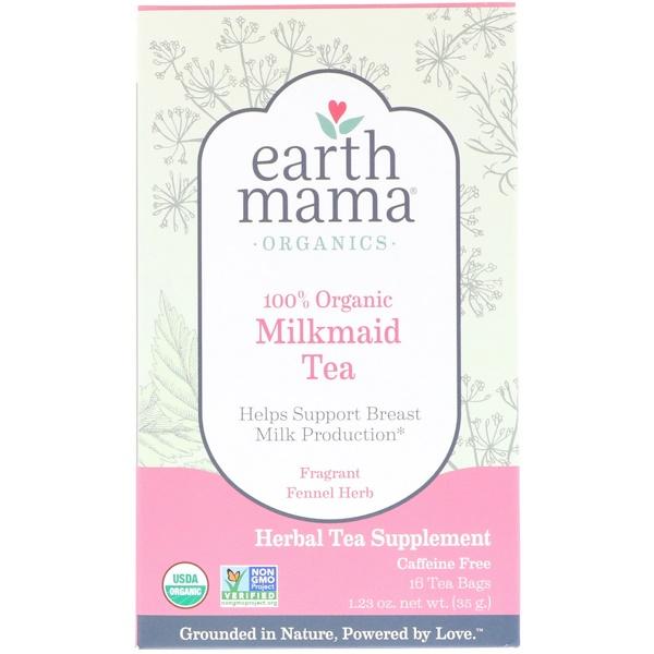 Earth Mama, Organics, 100 % органический чай для кормящих мам с ароматным фенхелем, без кофеина, 16 чайных пакетиков, 1,23 унции (35 г) (Discontinued Item)