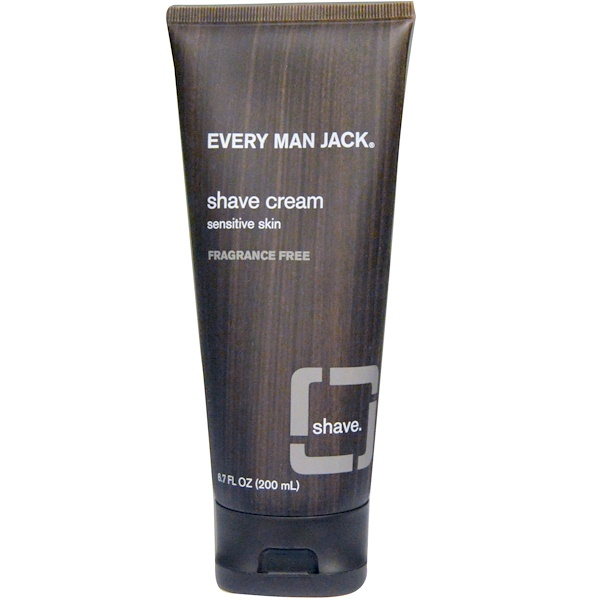 Every Man Jack, Крем для бритья, для чувствительной кожи, без отдушек, 200 мл (6,7 жидких унций ) (Discontinued Item)