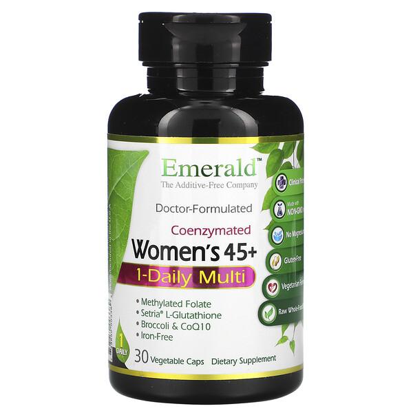 Emerald Laboratories, Мультивитаминный комплекс для женщин от 45 лет, для приема 1 раз в день, коферментная формула, 30 растительных капсул