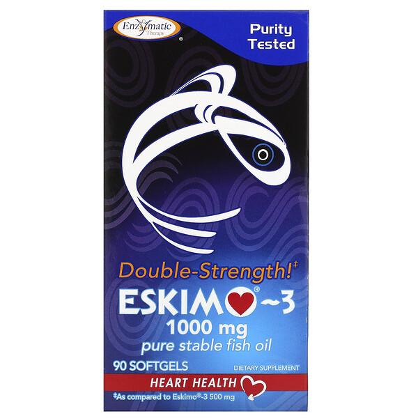 Eskimo-3, двойная сила, 1000 мг, 90 капсул