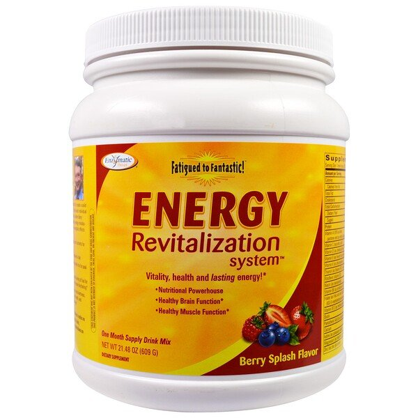 Enzymatic Therapy, Fatigued to Fantastic!, Energy Revitalization System, Berry Splash Flavor, 1,3 фунта (609 г)
