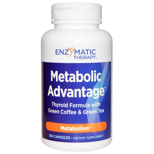 Nature's Way, Metabolic Advantage, формула для щитовидной железы с зеленым кофе и зеленым чаем, метаболизм, 180 капсул