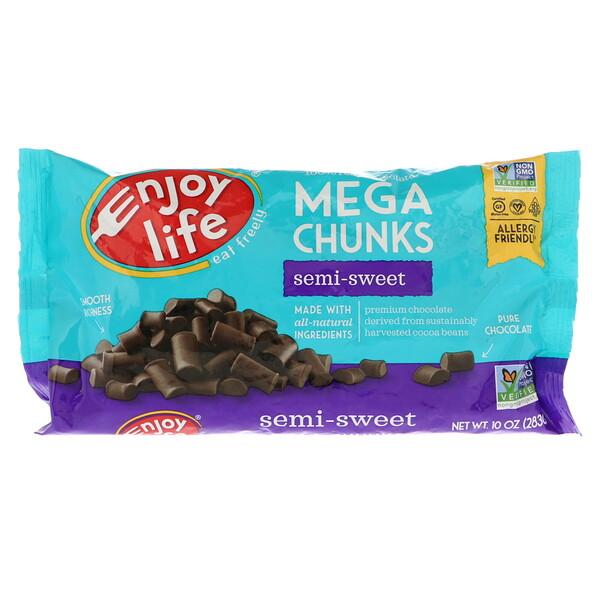 Mega Chunks, Полусладкий шоколад, 10 унций (283 г)