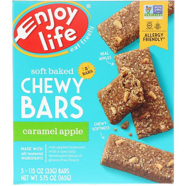 Enjoy Life Foods, Запеченные жевательные батончики, карамельное яблоко, 5 батончиков, по 1 унции (28 гр) каждый (Discontinued Item)