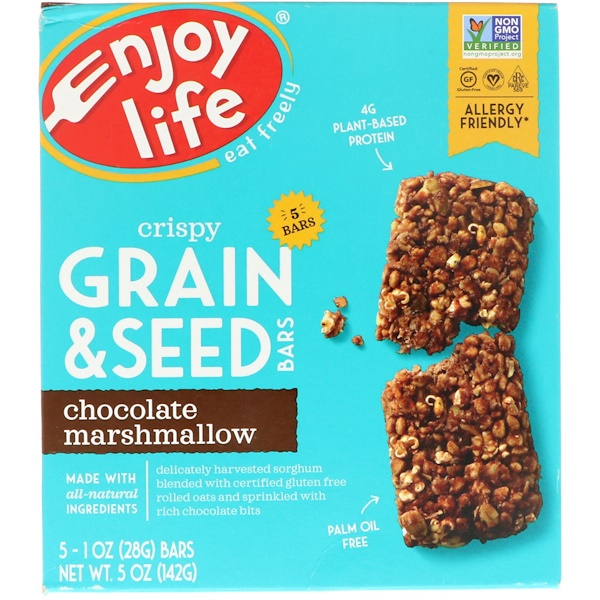 Enjoy Life Foods, Хрустящие батончики с цельным зерном и семечками, Шоколад и маршмэллоу, 5 баточников, 1 унция (28 г) каждый (Discontinued Item)