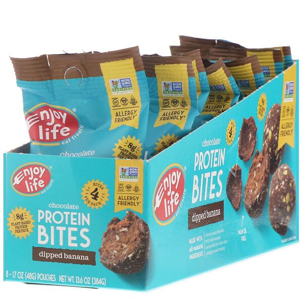 Enjoy Life Foods, Шоколадные протеиновые снеки, с кусочками банана, 8шт. в отдельной упаковке по 48г каждая