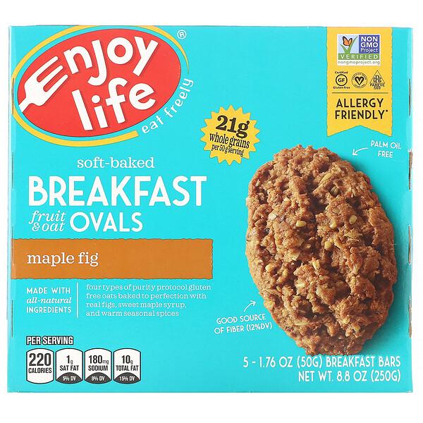 Овальные мягкие печенья с фруктами и овсянкой, клен и инжир, 5штук, 50г (1,76 унции) каждое