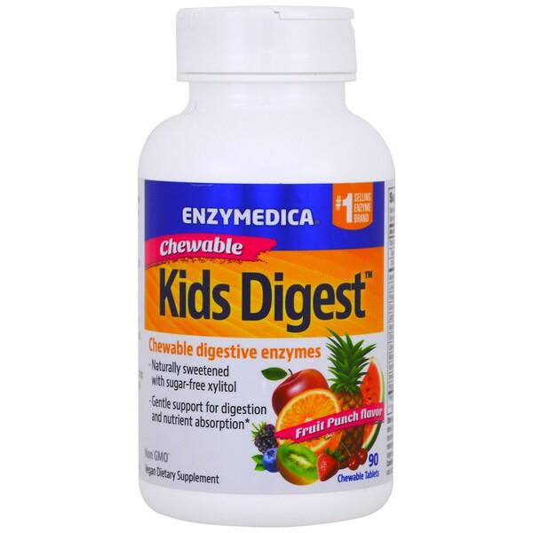 Kids Digest, жевательные пищеварительные ферменты, фруктовый пунш, 90 жевательных таблеток