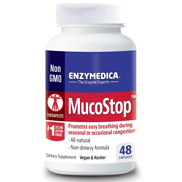 Enzymedica, MucoStop, 48 капсул