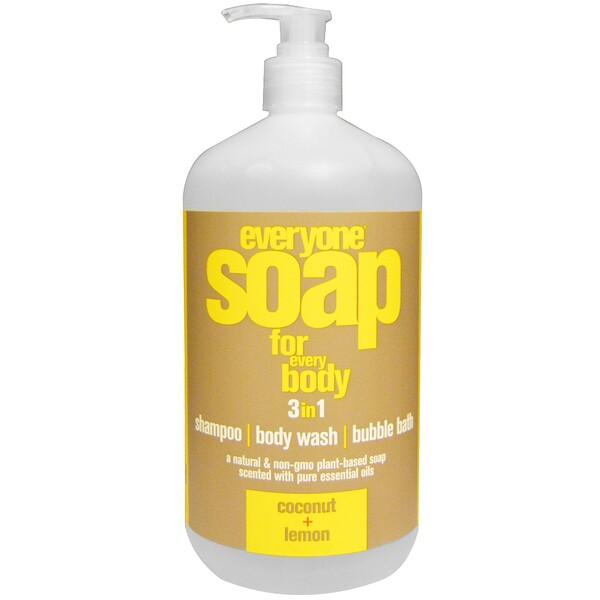 EO Products, Everyone Soap for Every Body, мыло 3 в 1, кокос и лимон, 946 мл (32 жидких унции) (Discontinued Item)