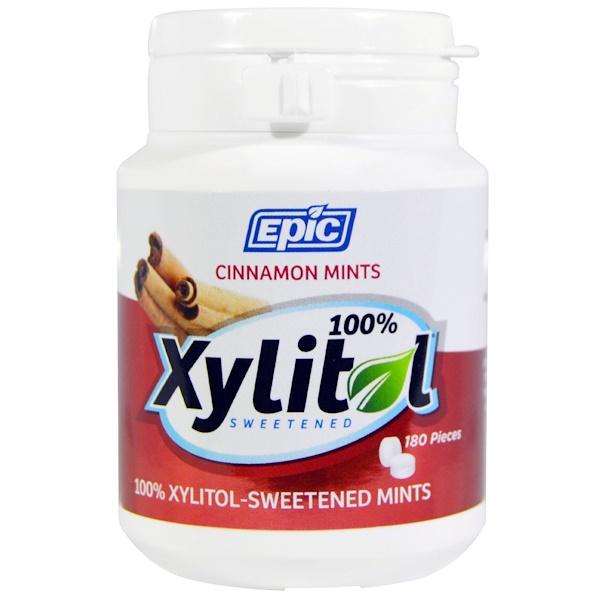Epic Dental, Подслащенные 100%-ным ксилитом мятные таблетки с корицей, 180 шт. (Discontinued Item)
