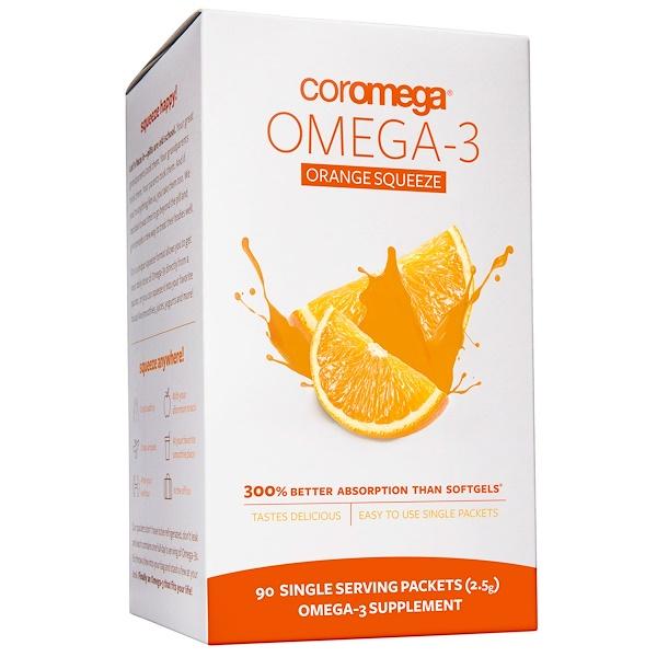 Омега-3, Выжимающиеся пакетики со вкусом апельсина, 90 пакетиков, 2.5 г каждый