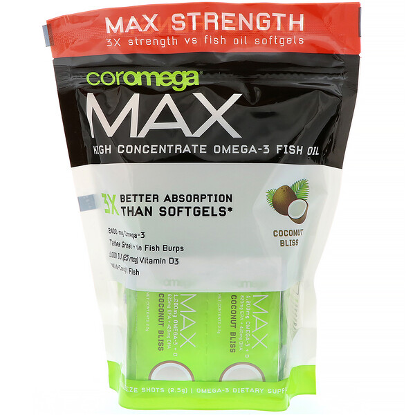 Max, High Concentrate Omega-3 Fish Oil, Coconut Bliss, 60 Squeeze Shots, 2.5 g Each