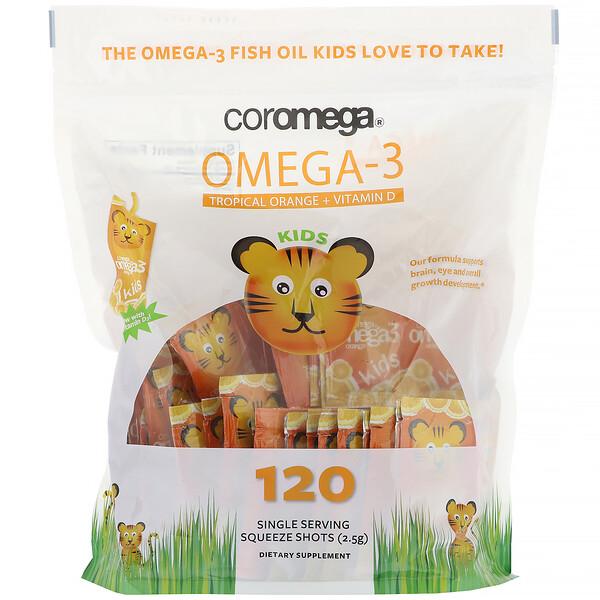 омега-3 кислоты для детей, с тропическим апельсином и витамином D, 120 одноразовых порционных пакетиков