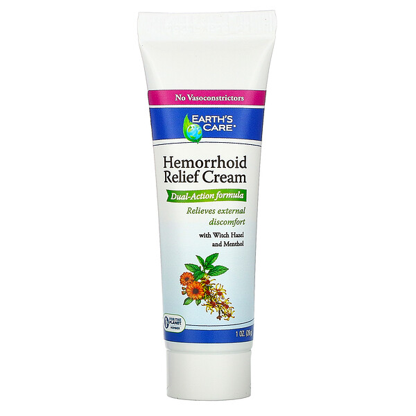 Hemorrhoid Relief Cream, with Witch Hazel and Menthol, 1 oz (28 g)