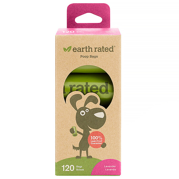 Earth Rated, Dog Waste Bags, Lavender, 120 Bags, 8 Rolls