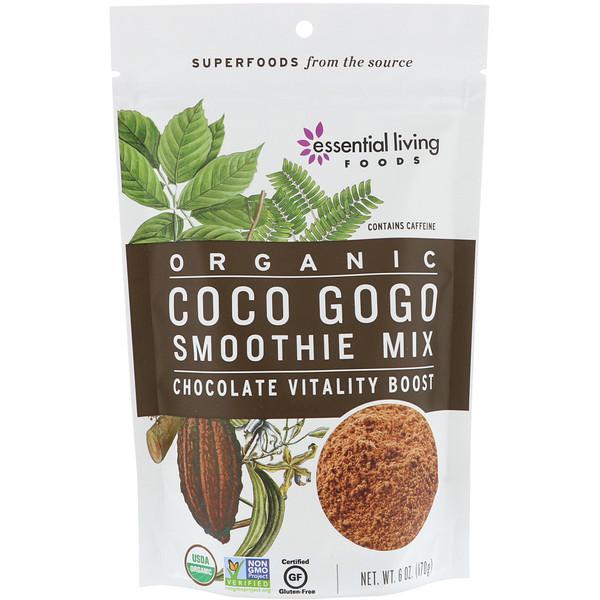 Essential Living Foods, Органический продукт, смесь смузи Coco Gogo, шоколад, прилив жизненных сил, 6 унц. (170 г) (Discontinued Item)