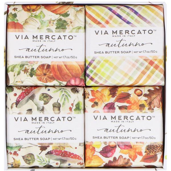 Via Mercato, Autumno, набор мыла с маслом ши, 4 вида мыла, 50 г каждый
