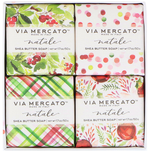 Via Mercato, Natale, набор мыла с маслом ши, 4 мыла по 50 г