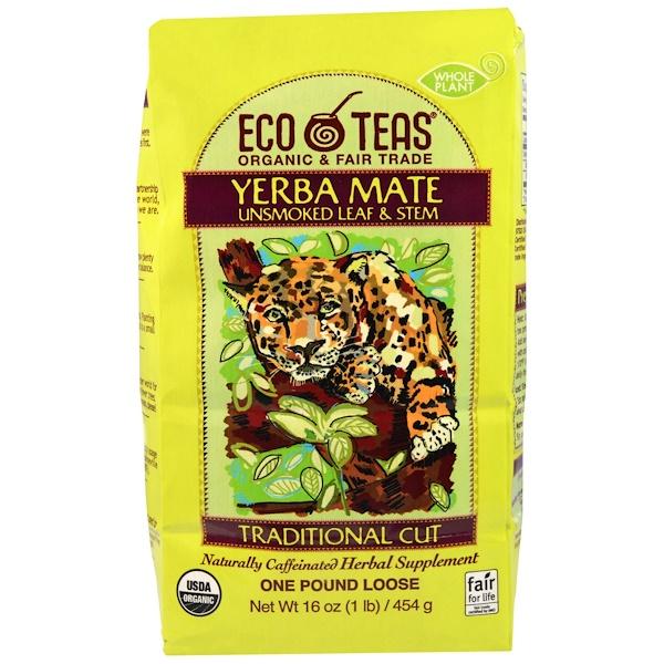 Eco Teas, Yerba Mate, листья и стебли (без тепловой обработки), 16 унции (445 г) (Discontinued Item)