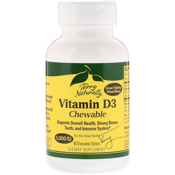 Terry Naturally, Vitamin D3 Chewable, Mixed Berry , 5,000 IU, 90 Chewable Tablets