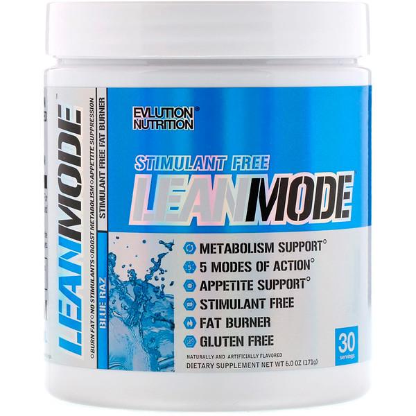 EVLution Nutrition, LeanMode, сжигатель жира без стимуляторов, Blue Raz, 6,0 унц. (171 г) (Discontinued Item)