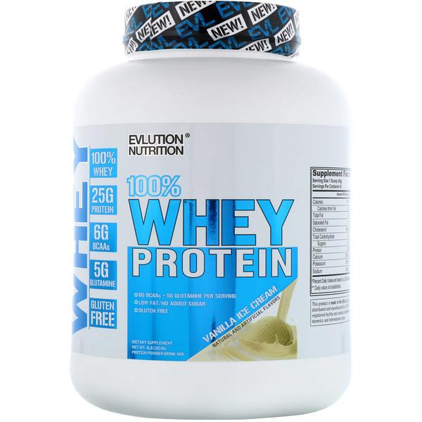 EVLution Nutrition, 100% сывороточный протеин, ванильное мороженое, 4 фунта (1814 г) (Discontinued Item)