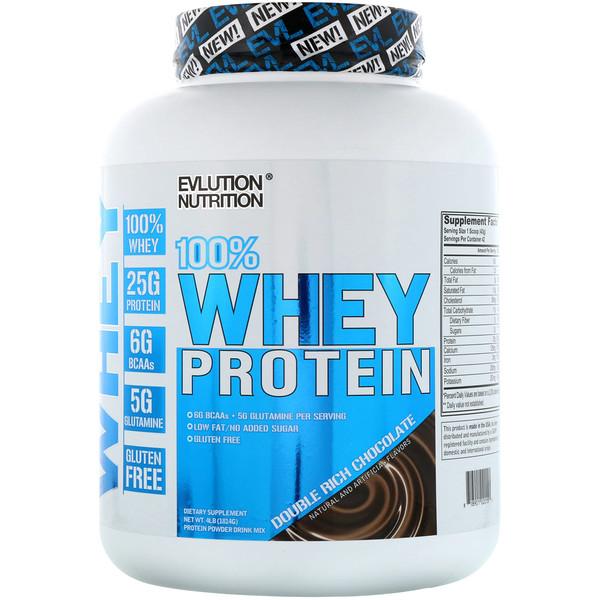 EVLution Nutrition, 100% сывороточного белка, двойной шоколад, 4 ф (1814 г)