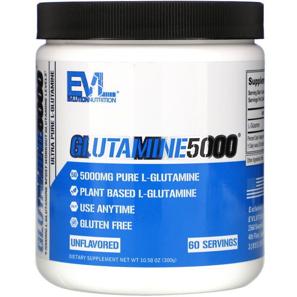 Glutamine5000, Unflavored, 5,000 mg, 10.58 oz (300 g)