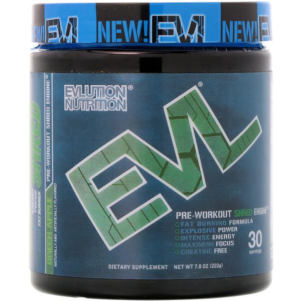 EVLution Nutrition, ENGN Shred, предтренировочный комплекс Pre-Workout Shred Engine, зеленое яблоко, 222 г (Discontinued Item)