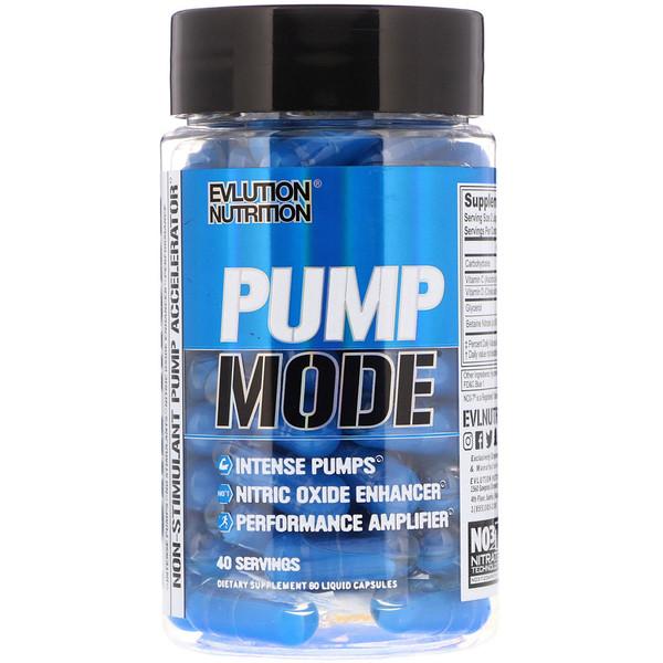 EVLution Nutrition, Pump Mode, 80 жидких капсул (Discontinued Item)