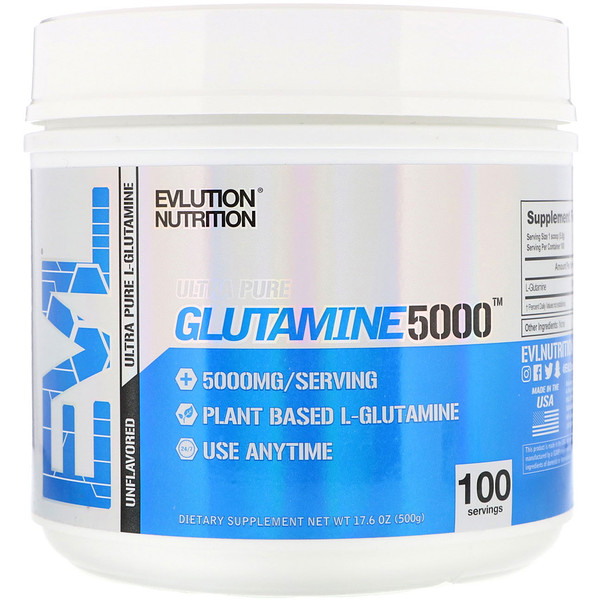 EVLution Nutrition, GLUTAMINE5000, Unflavored, 17.6 oz (500 g) (Discontinued Item)