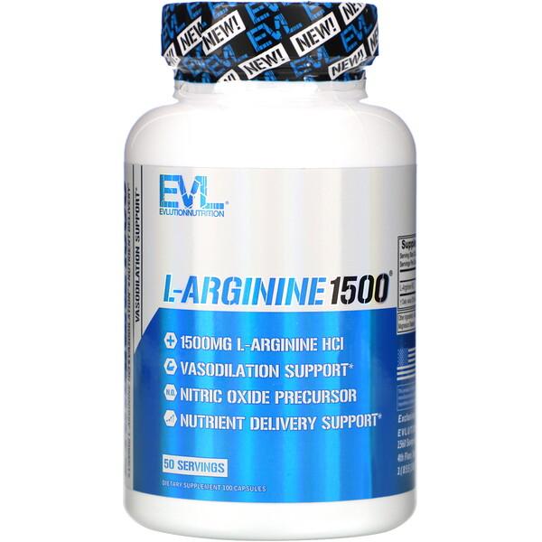 EVLution Nutrition, L-аргинин 1500, 100капсул