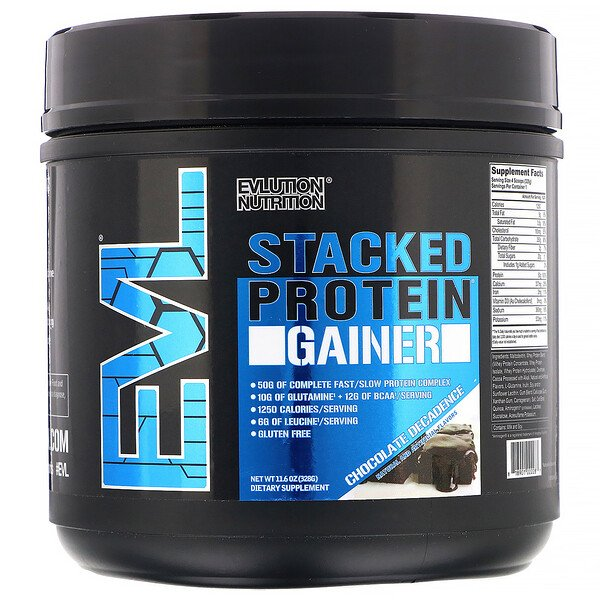 EVLution Nutrition, Гейнер Stacked Protein, шоколадный торт, 328г (Discontinued Item)