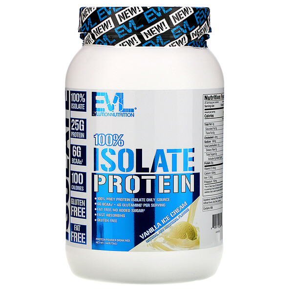 EVLution Nutrition, 100% Isolate Protein, Vanilla Ice Cream, 1.6 lb (726 g)