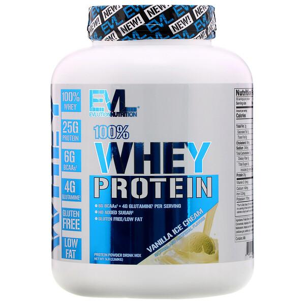 100% сывороточного протеина, ванильное мороженое, 2,268кг (5фунтов)