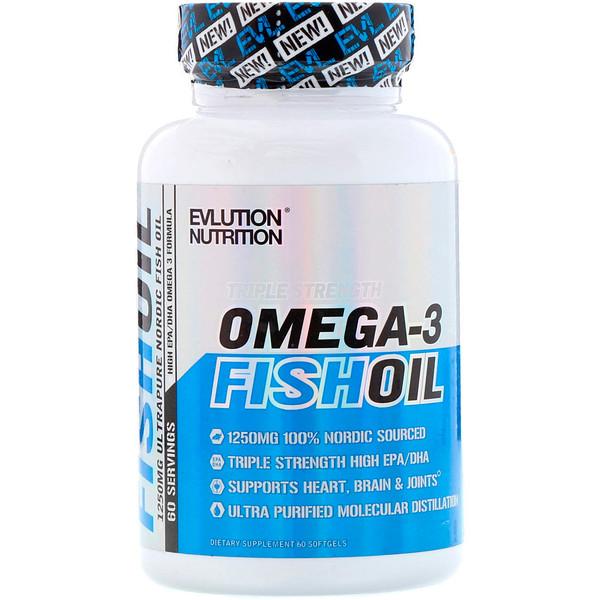 EVLution Nutrition, Рыбий жир, 60 Мягких Желатиновых Капсул (Discontinued Item)