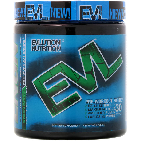 EVLution Nutrition, Предтренировочный Комплекс ENGN, Зеленое Яблоко, 8,5 унции (240 г) (Discontinued Item)